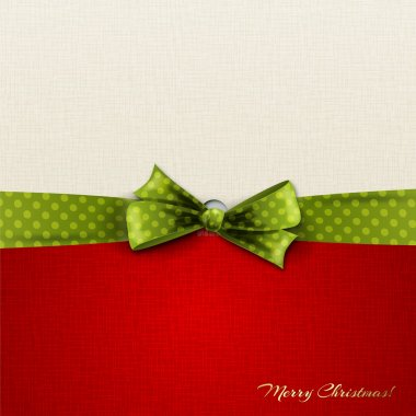 Red and white Christmas card with green ribbon
