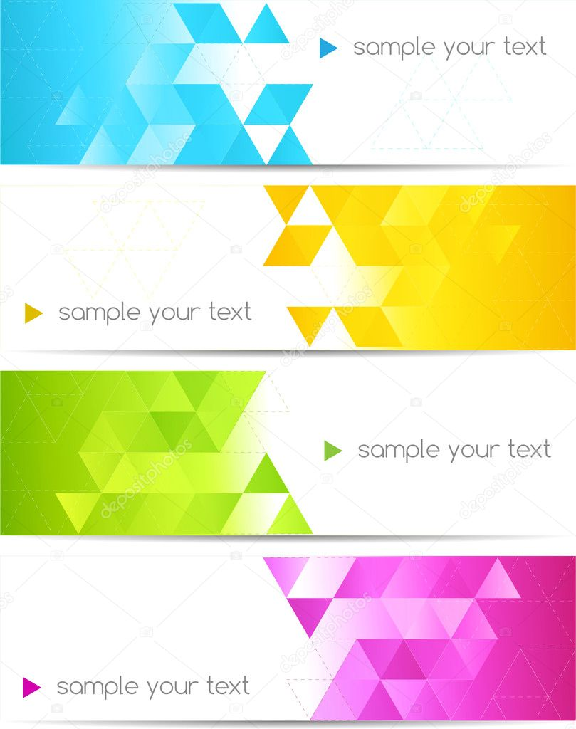 Set of abstract banner with square shapes