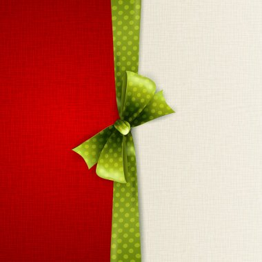Holiday background with green polka dots bow clip art vector