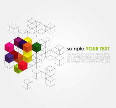 Vector abstract background with color cubes stock vector