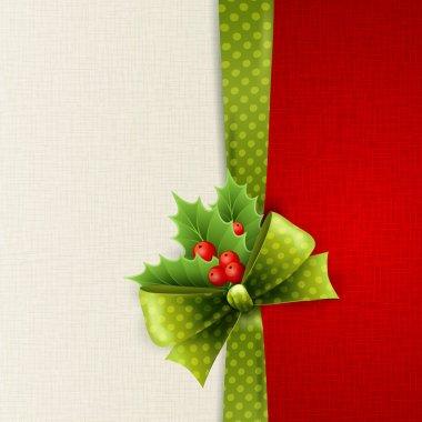 Vector Christmas card with green polka dots bow and holly clip art vector