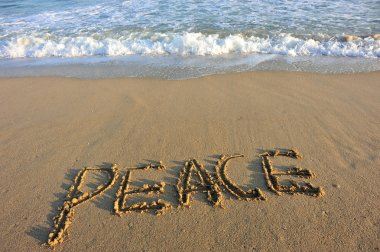 Peace word drawn on the beach stock vector