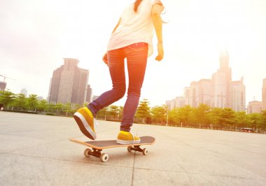Skateboarding woman