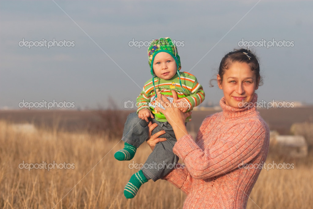 Portrait mother with little son