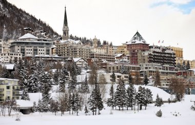 View of St. Moritz during winter, Switzerland