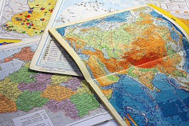 Geographical maps. The student's life.