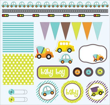 Baby boy scrapbook elements