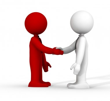3d handshake red and white