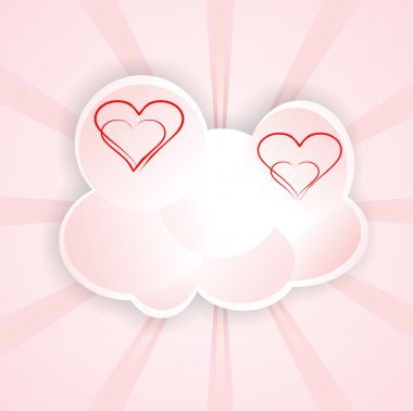 Background animated cartoon cloud with hearts in luminous rays clip art vector