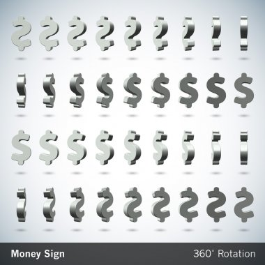 Vector Money Sign with 360 Degrees Rotation - Dollar