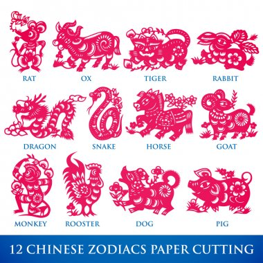 Vector Traditional Chinese 12 Zodiacs