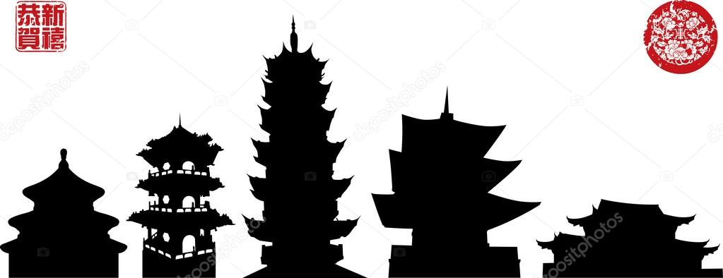 Silhouettes Of Chinese Temples Stock Vector 169 Yienkeat