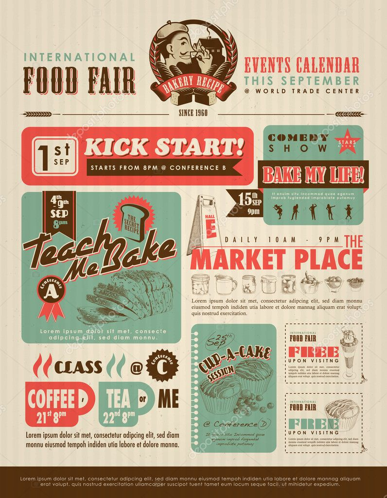 Retro Lebensmittel-Werbung — Stockvektor © yienkeat #42848225