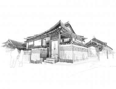 Sketching of Korean Traditional House