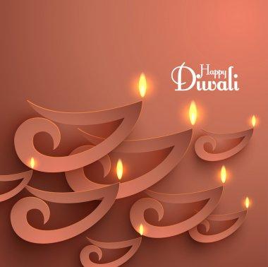 Vector Paper Diwali Diya (Oil Lamp). stock vector