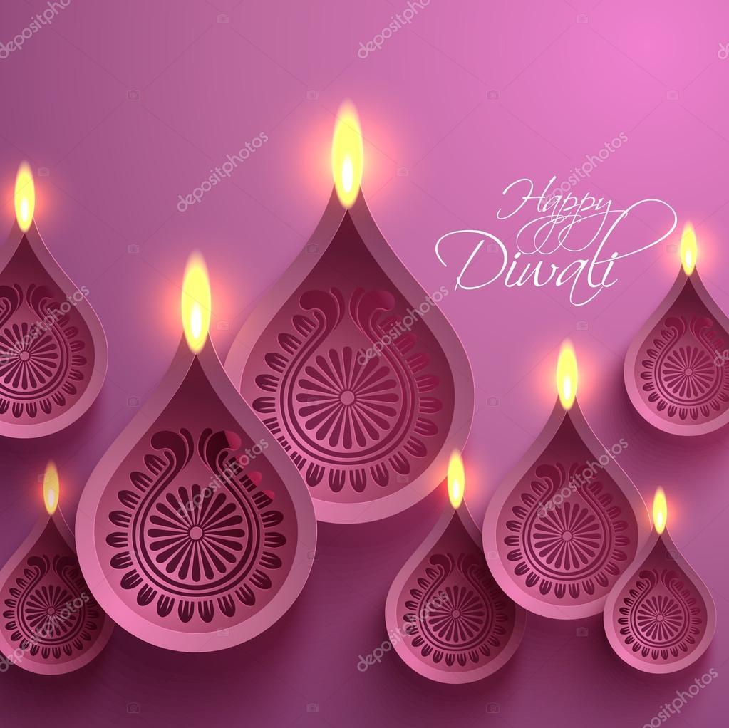 Vector Paper Diwali Diya Stock