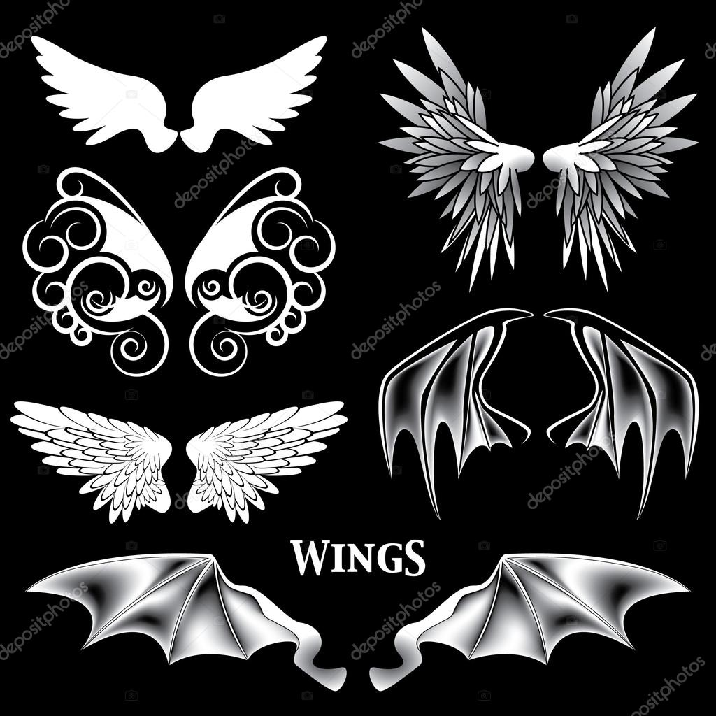 Vector Angel and Demon Wings