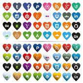 Sociální media ikony ve tvaru srdce