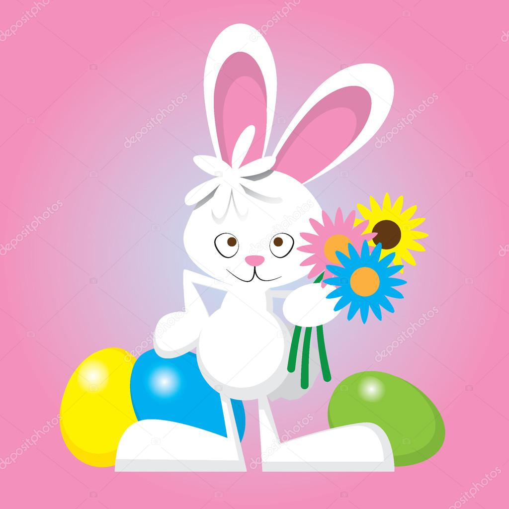 easter bunny with eggs and flowers u2014 stock vector jessjagmin