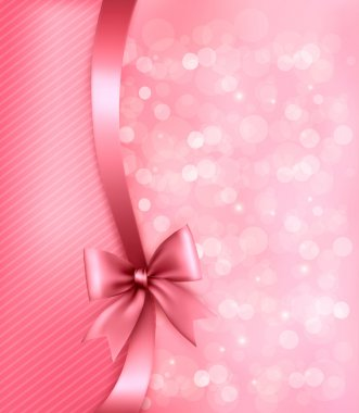 Holiday pink background with paper and gift bow and ribbon.