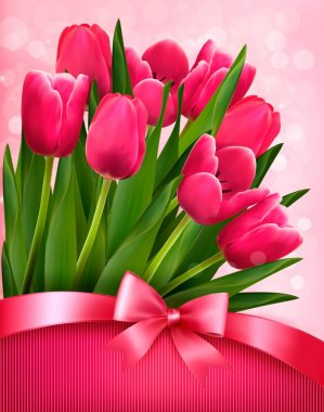 Holiday background with pink flowers and gift bow with ribbon. V