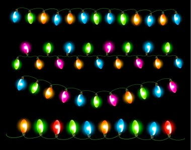 Strings of holiday lights on black background. Vector illustrati