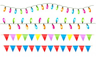 Strings of holiday lights and birthday flags white background. V