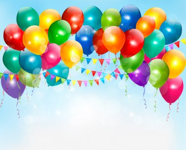 Holiday background with colorful balloons. Vector.