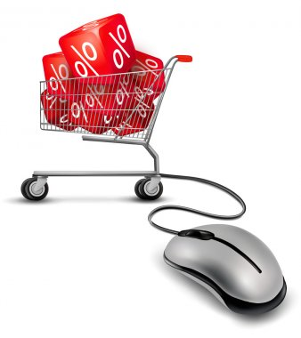 Computer mouse and a shopping cart with cube in it. concept of d