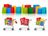 Fotografie pozadí s nákupní tašky barva a nákupní vozíky s prodejem