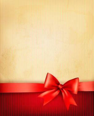 Vintage background with red gift bow and ribbon on old paper. Vector illustration. clip art vector