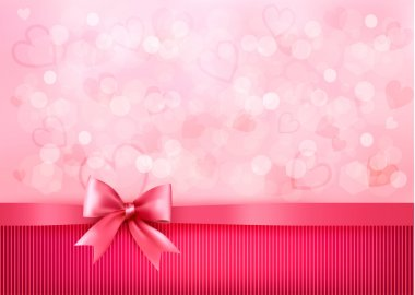 Holiday background with gift pink bow and ribbon. Valentines Day. Vector clip art vector