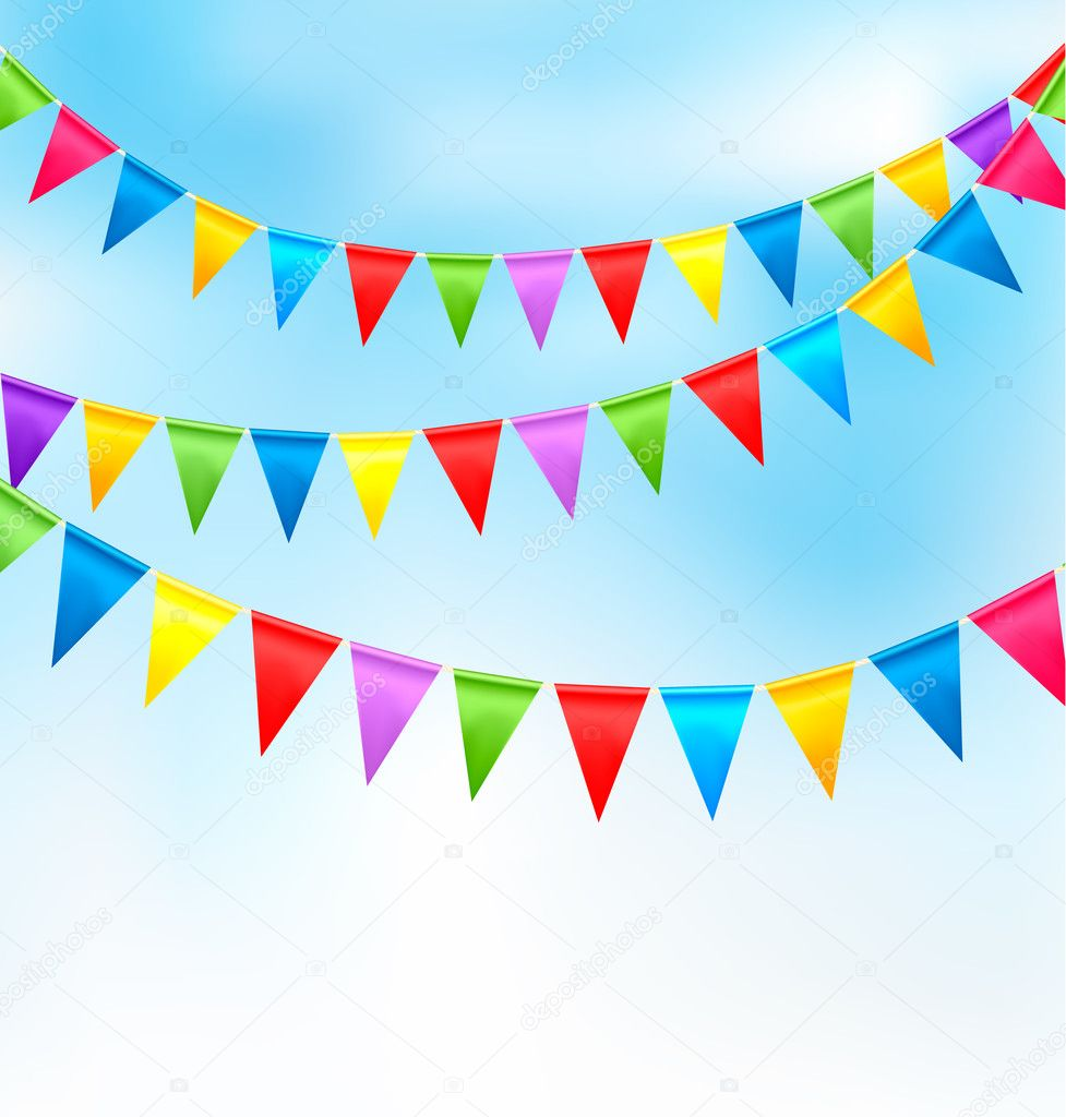 Holiday background with birthday colorful flags.