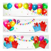 Fotografie Urlaub Banner mit bunten Luftballons und Geschenkbox. Vektor