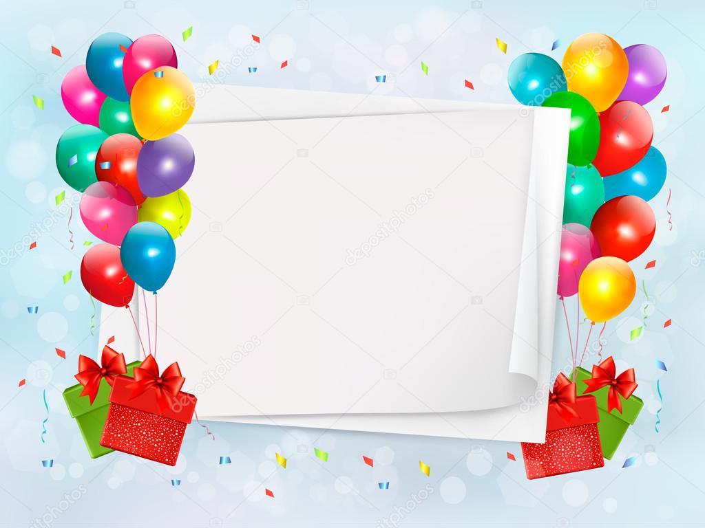 Sfondo vacanza con palloncini colorati e scatole regalo - Immagine con palloncini ...