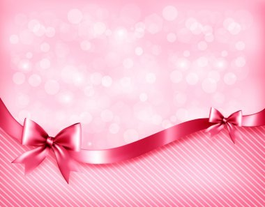 Holiday pink background with gift glossy bows and ribbon. Vector