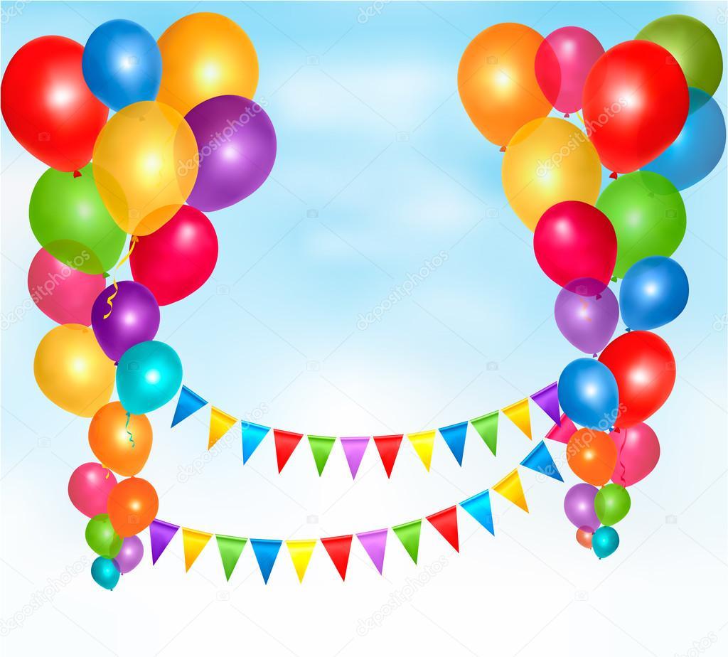 globos de cumpleaños marco de composición con espacio para su texto ...