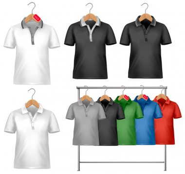 White and colorful t-shirt design template. Clothes hanger with shirts with price tags. Vector illustration stock vector
