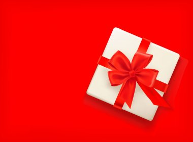 Red background with gift box and red bow. Vector illustration clip art vector