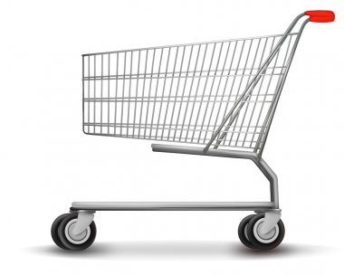 Shopping cart isolated on white background. Vector illustration. stock vector