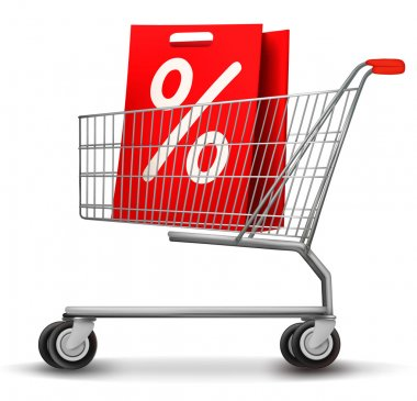 Shopping cart with sale tag. Concept of discount. Vector illustr