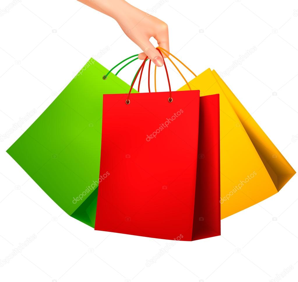 female hand holding colorful shopping bags vector shopping bag vector illustration shopping bag vector free