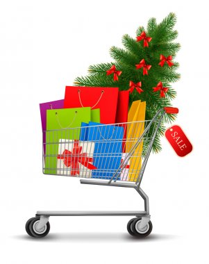 Background with shopping color bags and shopping cart with sale.
