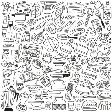 Cookery, kitchen tools - doodles
