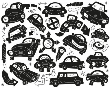 funny cars - doodles set