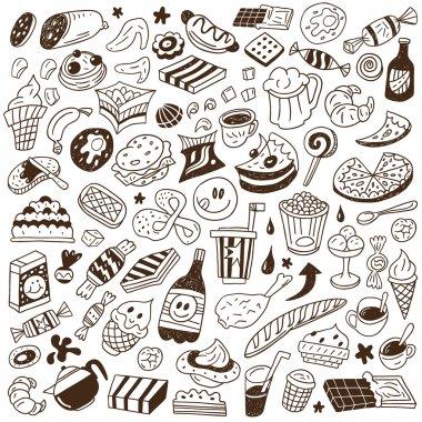 fast food - doodles set