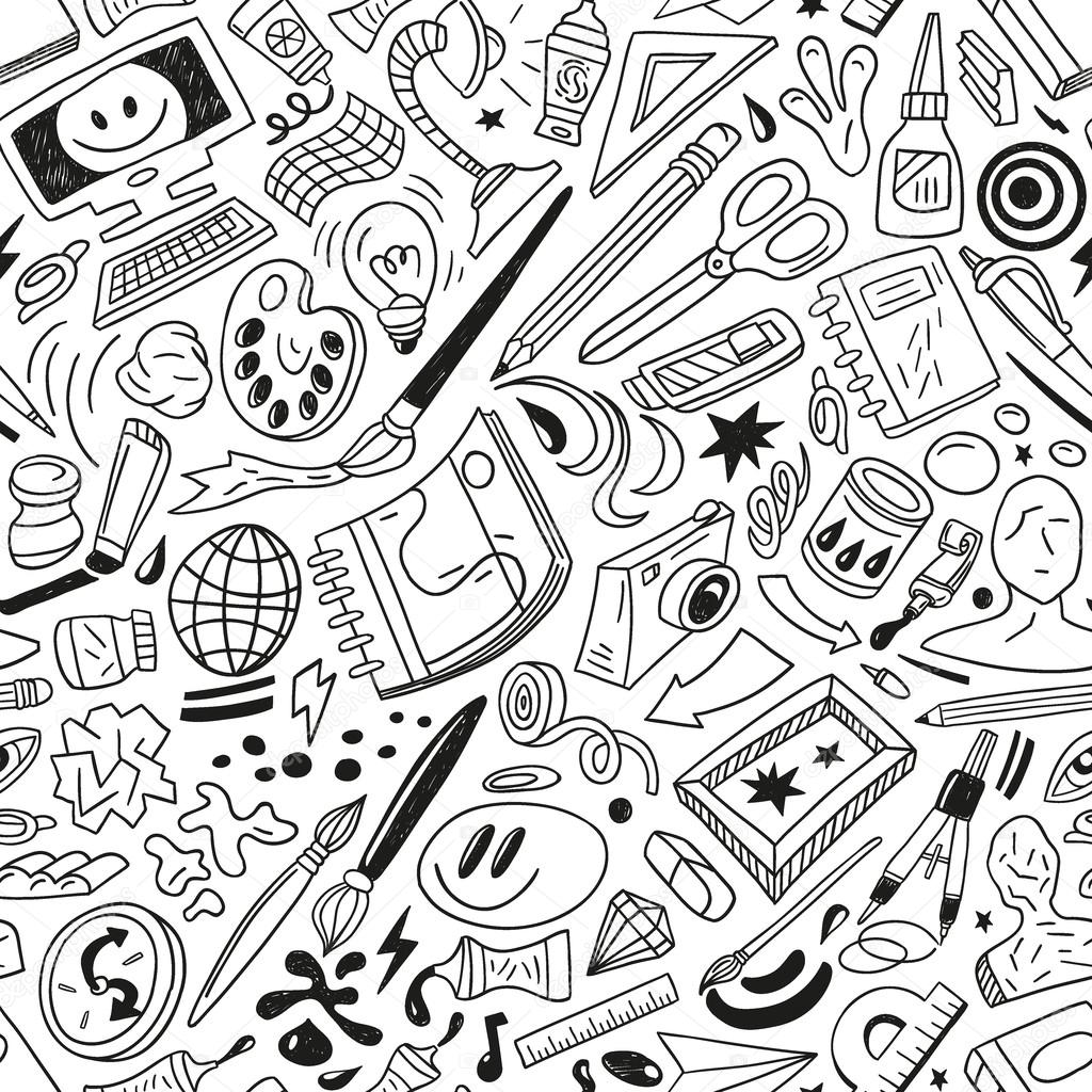 art tools - seamless vector pattern — Stock Vector