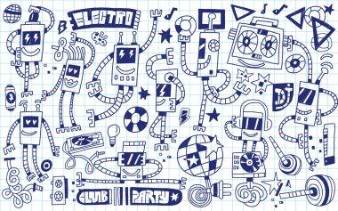 Dancing robots - doodles