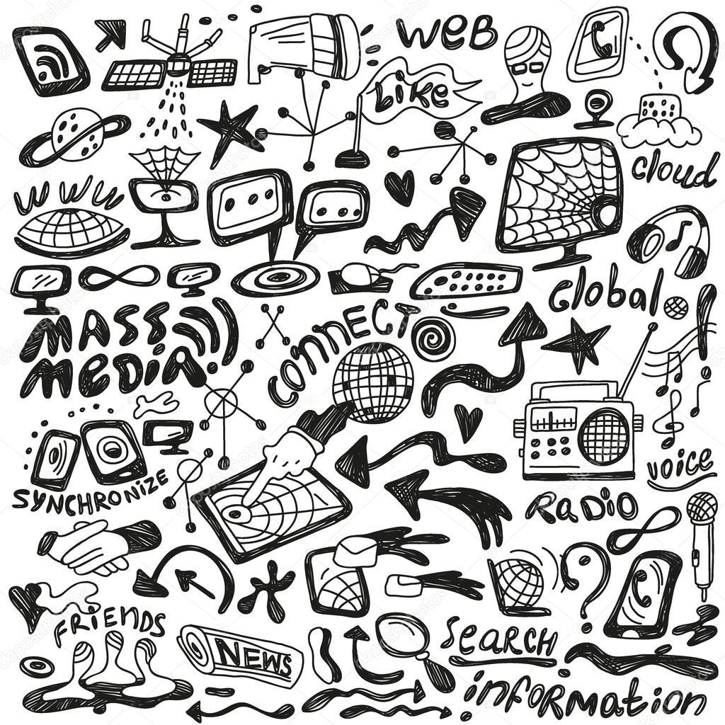Web , mass media - doodles set