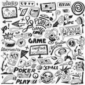 počítače hry - čmáranice sada vektorové